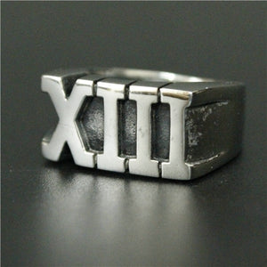 Stainless Steel Roman Numeral XIII Lucky 13 Ring