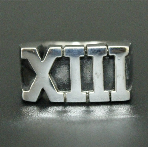 Image of Stainless Steel Roman Numeral XIII Lucky 13 Ring