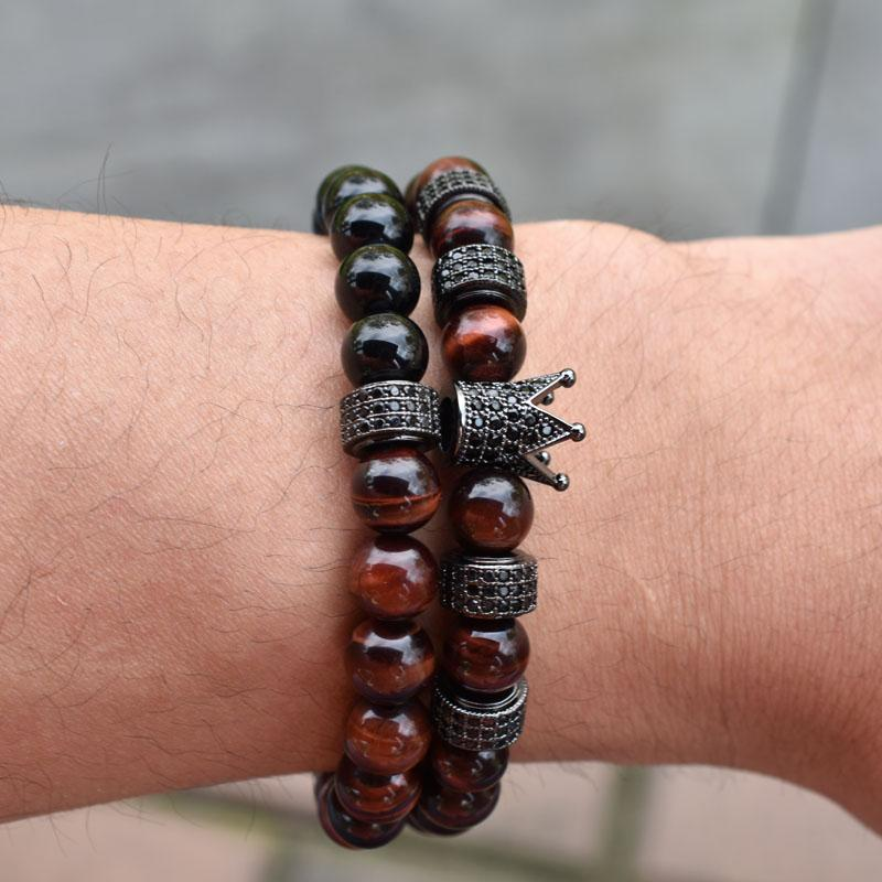 Natural red stone beaded Bracelet Set