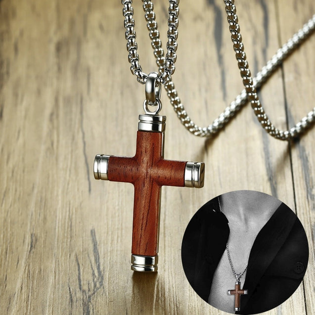 Mens Cross Pendant Necklace in Rosewood and Stainless Steel Crucifix