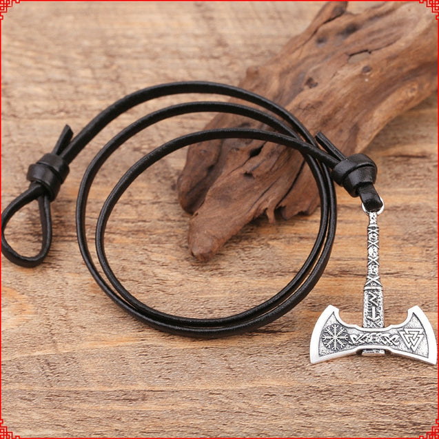 Viking Axe Bracelet, Mens Leather Bracelet
