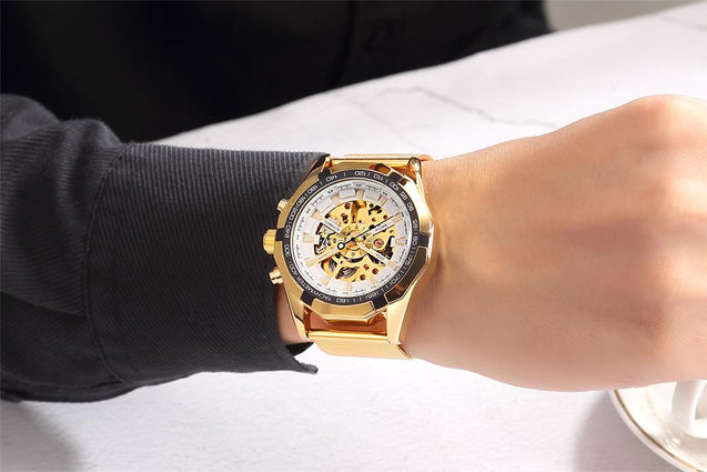 Automatic Skeleton Watch With Stainless Steel Band