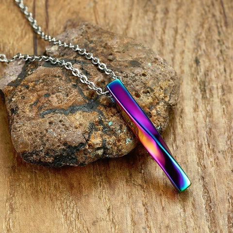 Twisted Rainbow Bar Mens  Pendant Necklace