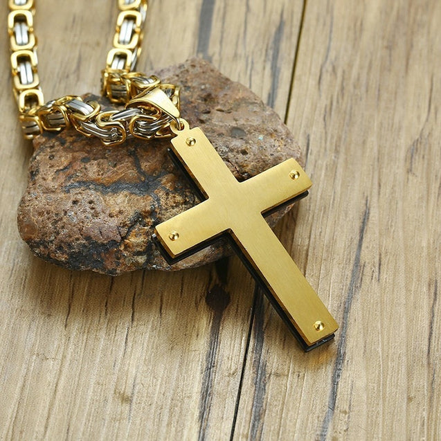 "Heavy Byzantine Chain Cross Pendant Necklace for Men Stainless Steel  Christian Jewelry 24"" inch"