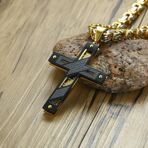 "Image of Heavy Byzantine Chain Cross Pendant Necklace for Men Stainless Steel  Christian Jewelry 24"" inch"