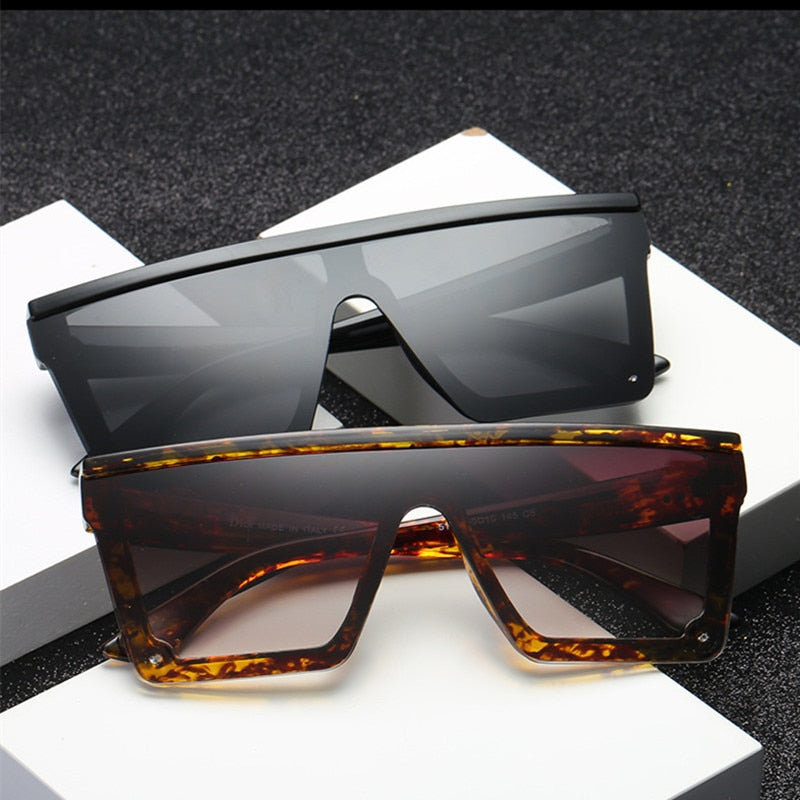 Oversize Square Frame Flat Top Sunglasses
