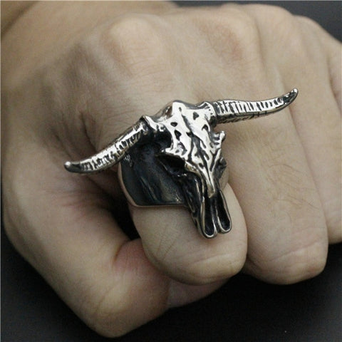 316L Stainless Steel Bull Head Ring, Cool OX Head Ring