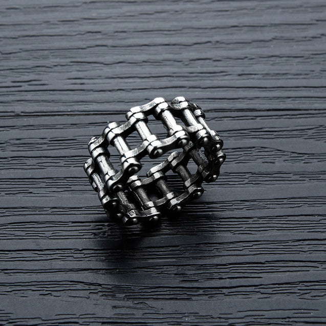 Oxidised Stainless Steel Bike Chain Ring