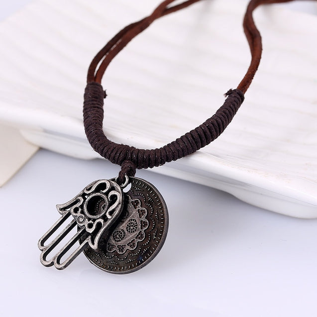 Leather Necklace With Hamsa Hand Pendant
