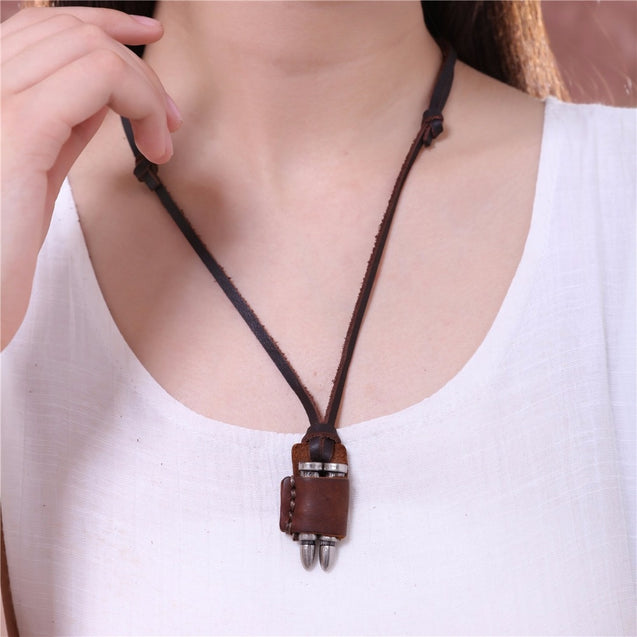 Mens Leather Necklaces With Bullet Pendants