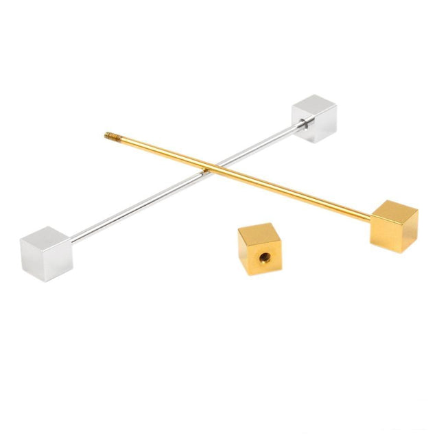 Gold Cube Stud Collar Bar