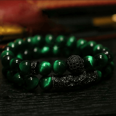 Image of Luxury Natural Tiger Eye Stone Bracelet 2Pcs / Set