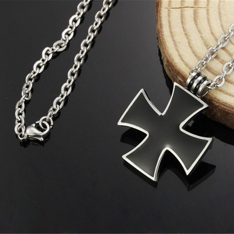 Titanium Steel Black Cross Pendant Necklace