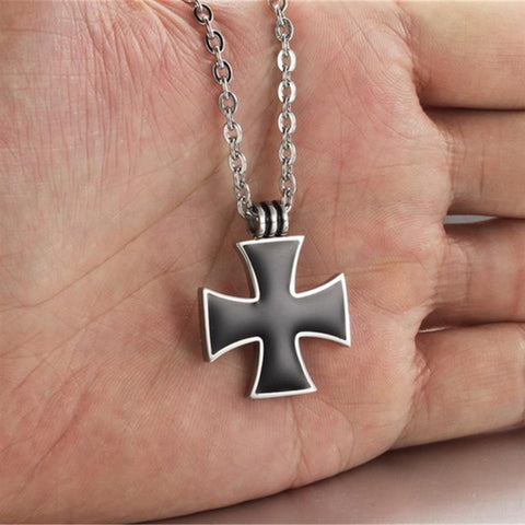 Image of Titanium Steel Black Cross Pendant Necklace