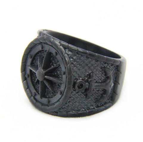 Image of Stainless Steel Dull Polishing Black Anchor Ring