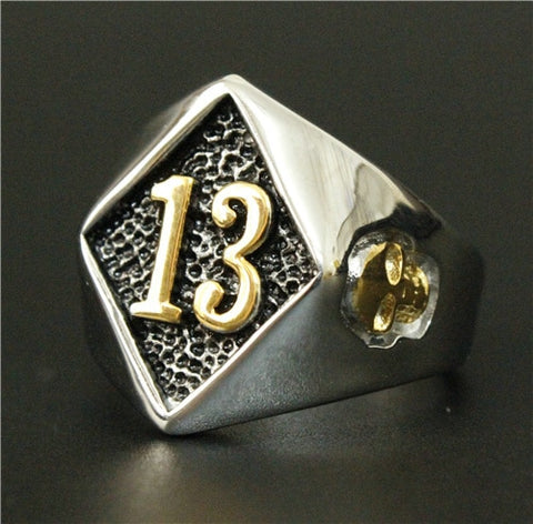 Biker Lucky Number 13 Ring 316L Stainless Steel