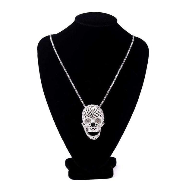Ladies Iced Out Skull Necklace