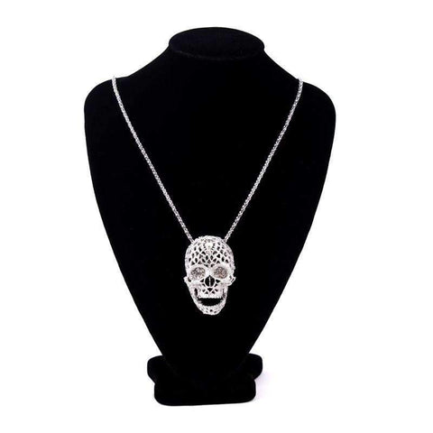 Image of Ladies Iced Out Skull Necklace