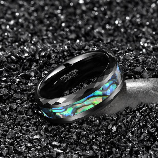 Black Tungsten Wedding Rings With Green Fire Opal & Shell Inlay