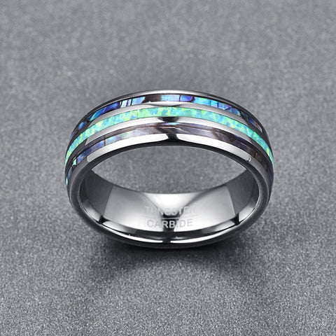 Image of Luxury Silver Tungsten Carbide Ring Blue Fire Opal & Shell Inlay