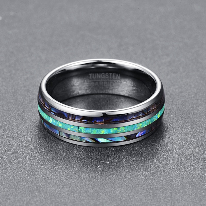 Luxury Silver Tungsten Carbide Ring Blue Fire Opal & Shell Inlay