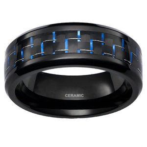 Men's 8mm Black Ceramic Ring With Blue Carbon Fiber Inlay