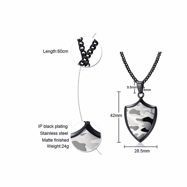 Army Camouflage Shield Pendant Necklace for Men