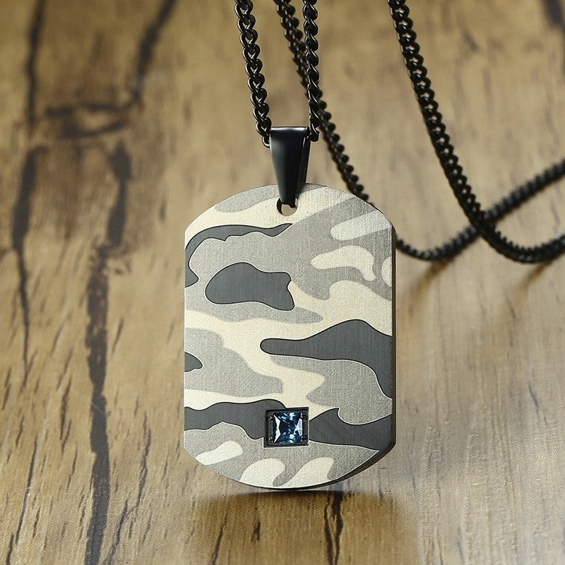 Camo Dog Tag Pendant Necklace With Blue CZ for Men