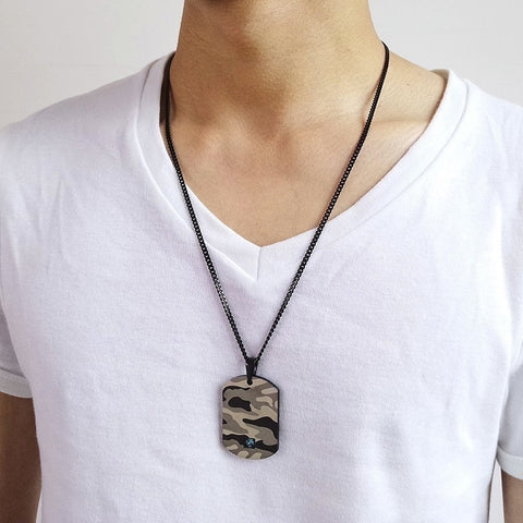 Image of Camo Dog Tag Pendant Necklace With Blue CZ for Men