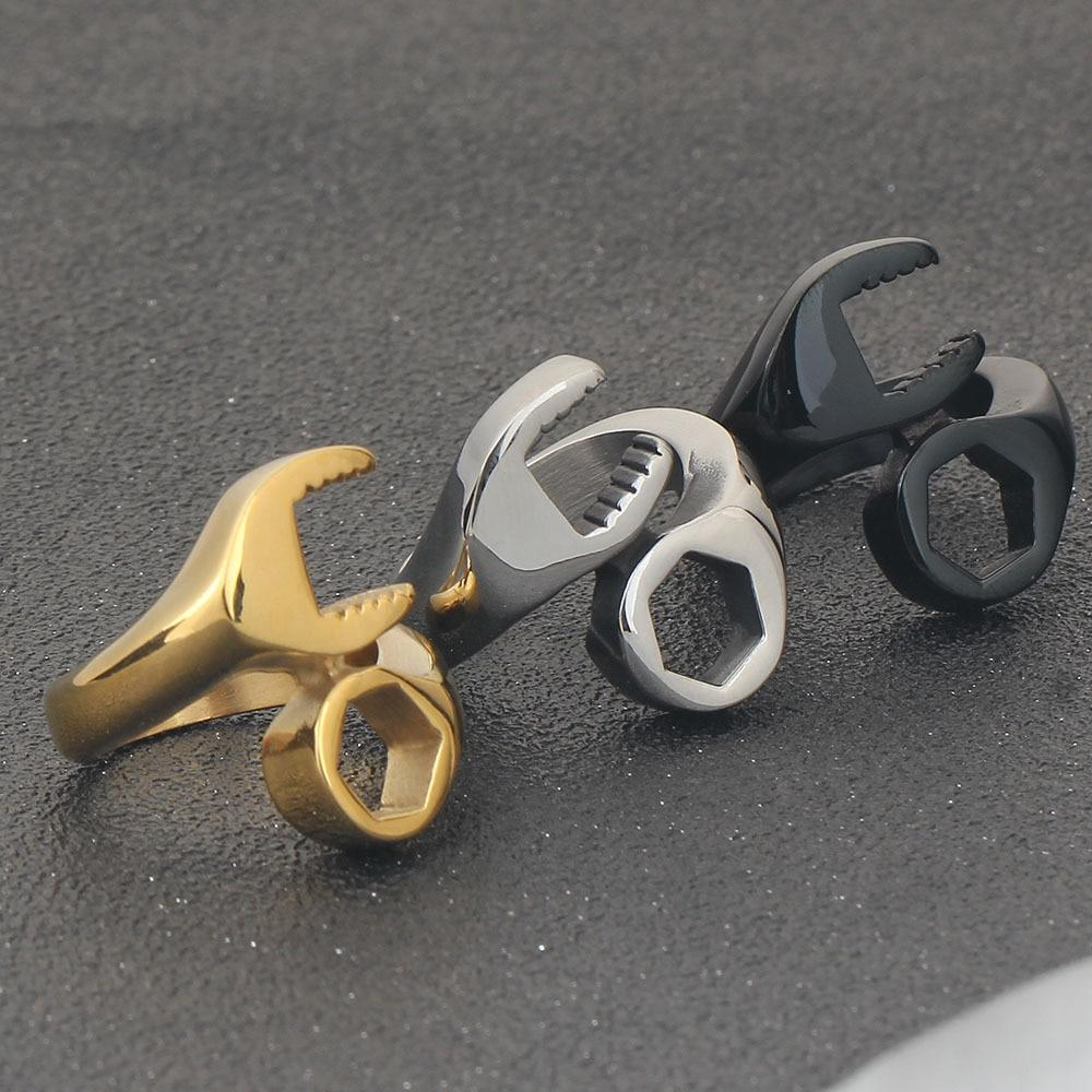 Men's Wrench Ring in Gold, Silver and Black Steel