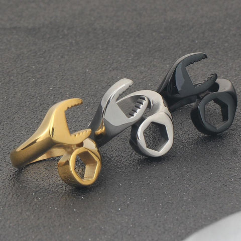 Image of Men's Wrench Ring in Gold, Silver and Black Steel