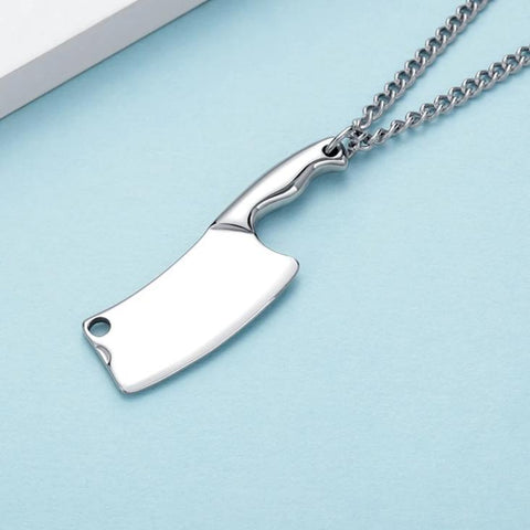 Image of Meat Cleaver Pendant Necklace for Men Chef Blade Necklace