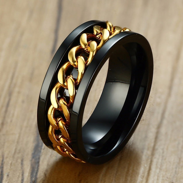 Stainless Steel Spinning Chain Ring for Men