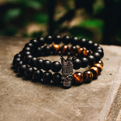 Image of Mens Skull Crown Bracelet set