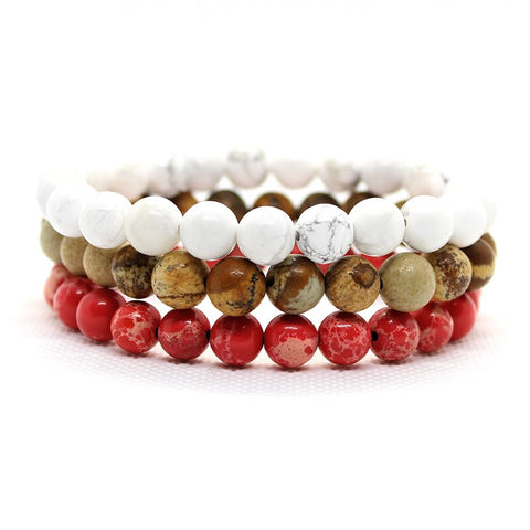 Summer Men Beaded Bracelet With Red, White & Brown Natural Stones