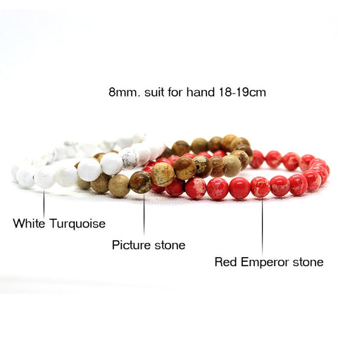 Image of Summer Men Beaded Bracelet With Red, White & Brown Natural Stones