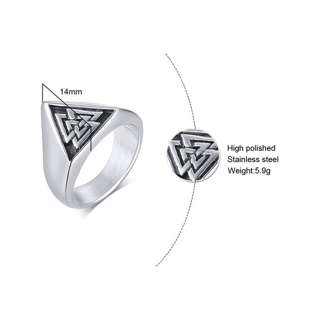 Triangle Viking Signet Ring for Men