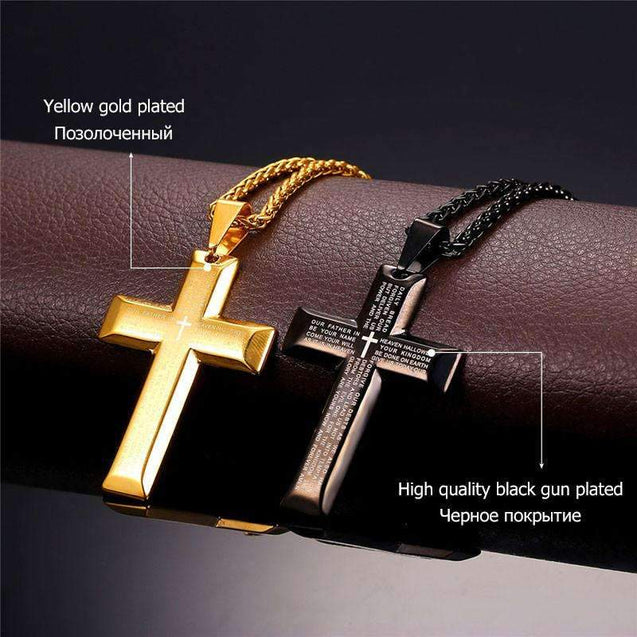 Bible Lords Prayer Cross Stainless Steel Pendant