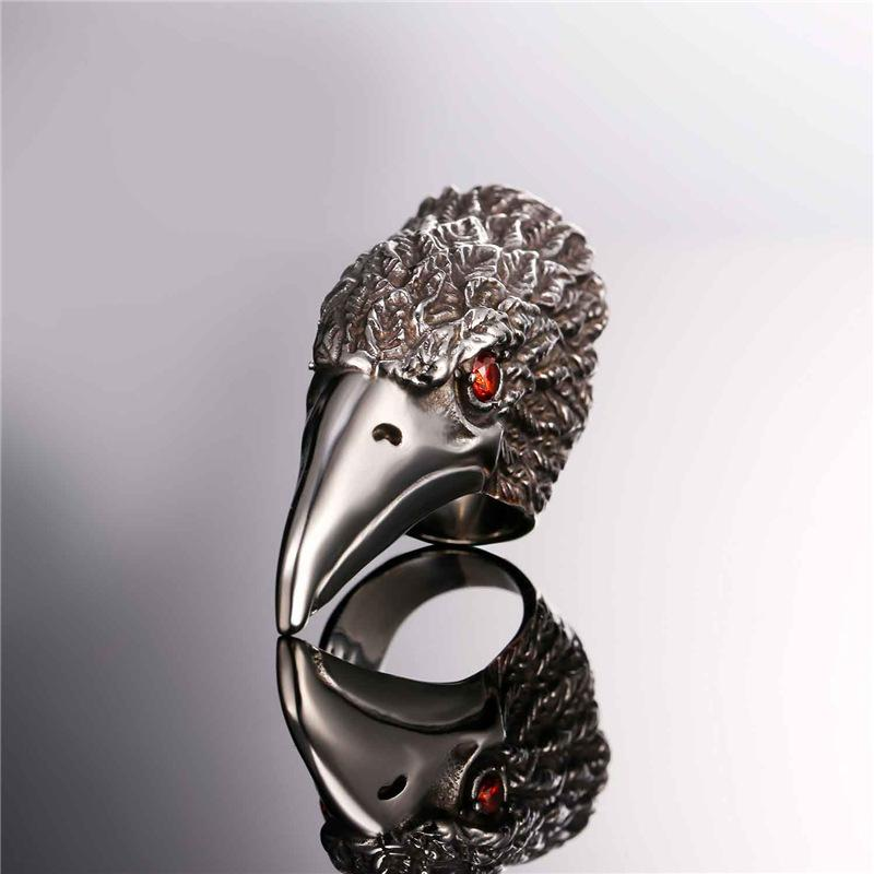 Mens Stainless Steel Crow Head Ring With Red Rhinestone Eyes