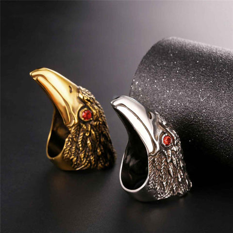 Image of Mens Stainless Steel Crow Head Ring With Red Rhinestone Eyes
