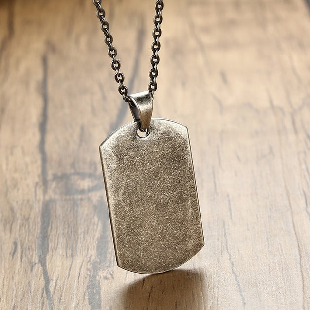 Military Dog Tag Pendant Necklace for Men Gray Metal