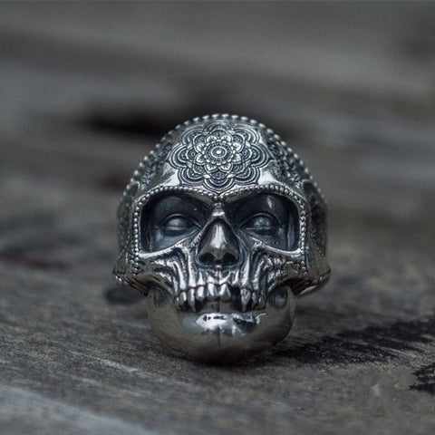 Image of Mens Sugar Skull Ring Mandala Flower Santa Muerte Biker Jewelry