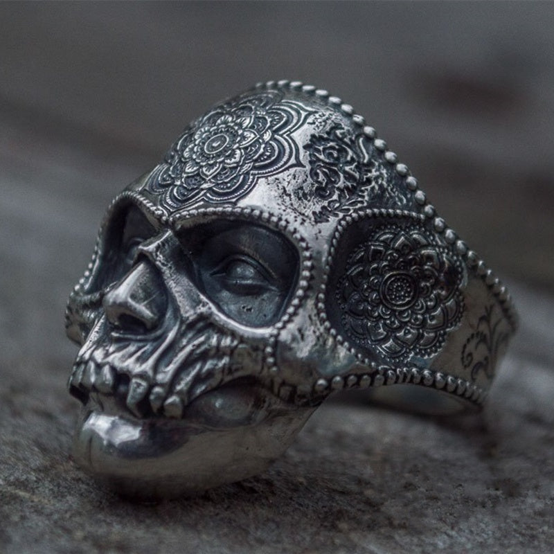 Mens Sugar Skull Ring Mandala Flower Santa Muerte Biker Jewelry