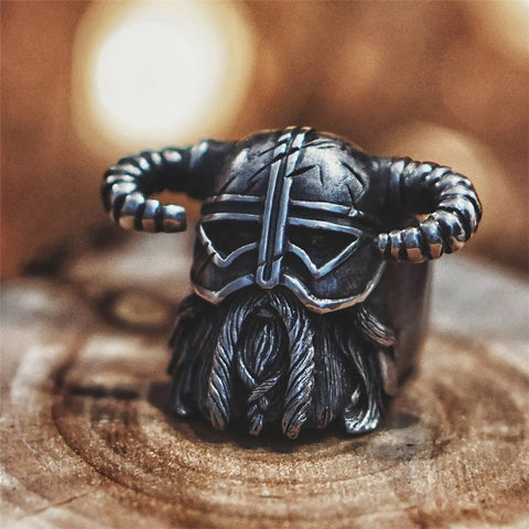 Viking Warrior With Horned Helmet Ring