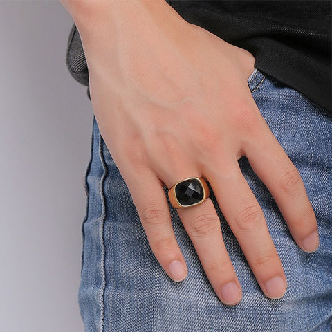 Image of Black Carnelian Stone Signet Rings for Men