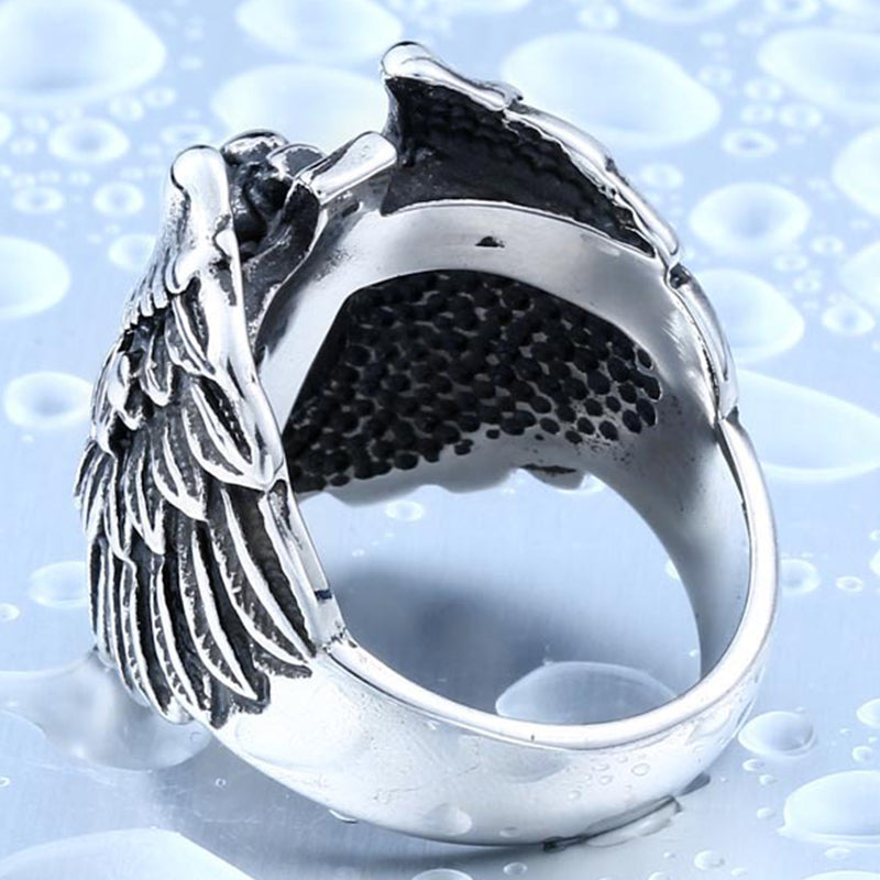 Headless Guardian Angel Ring With Feather Wings