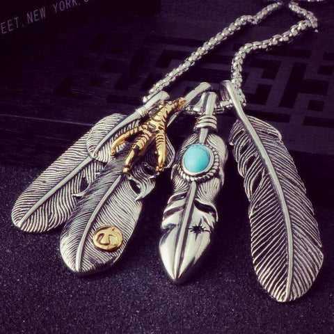 Image of Eagle Claw Feather Pendant Necklace