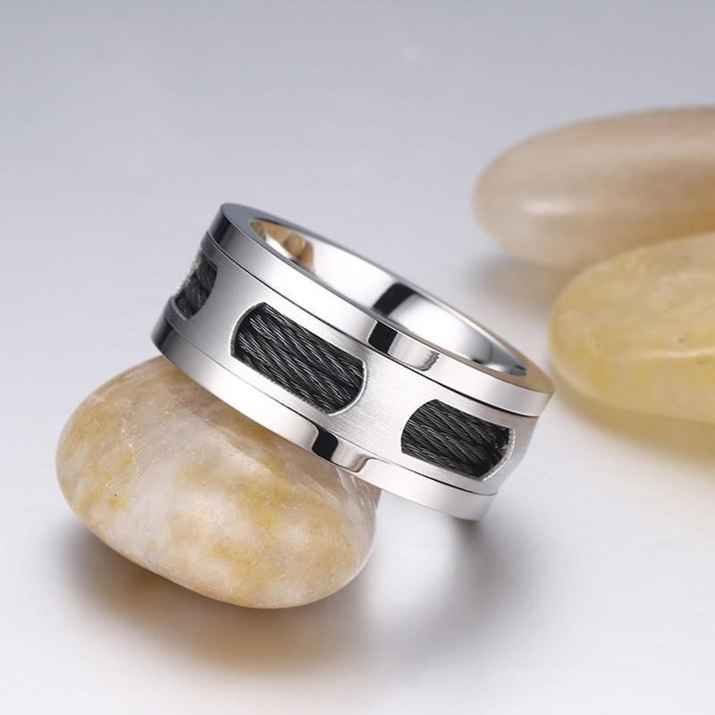 Black Cable Wire Inlaid Ring