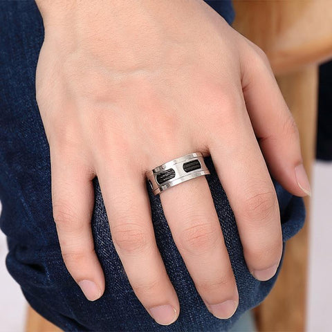 Image of Black Cable Wire Inlaid Ring