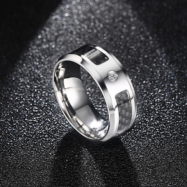 Men's Carbon Fiber Zircon Ring [ Black & Blue ]